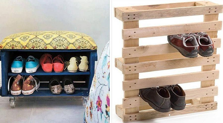 DIY pallet shoe rack idea that also gives you a comfy bench