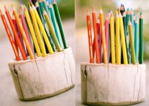 DIY-pencil-holder-crafted-from-raw-wood-block-217x155