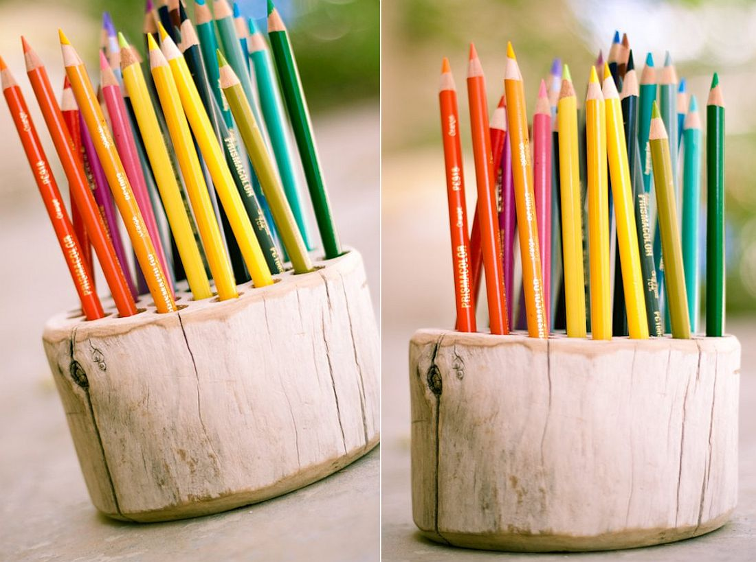 DIY pencil holder crafted from raw wood block