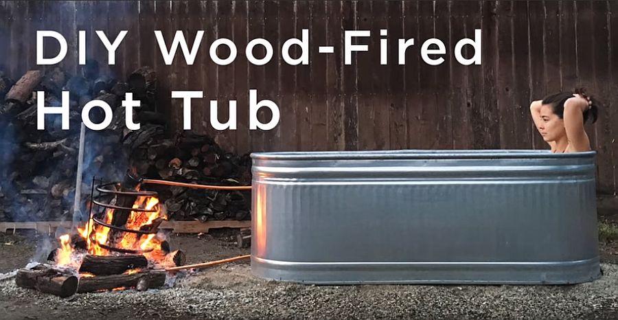 DIY wood-fired hot tub idea