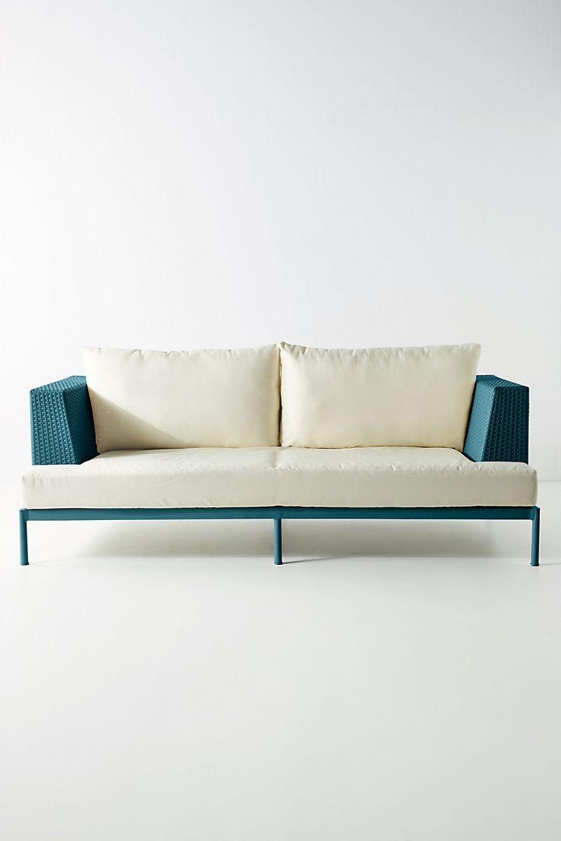 Dark turquoise and white sofa