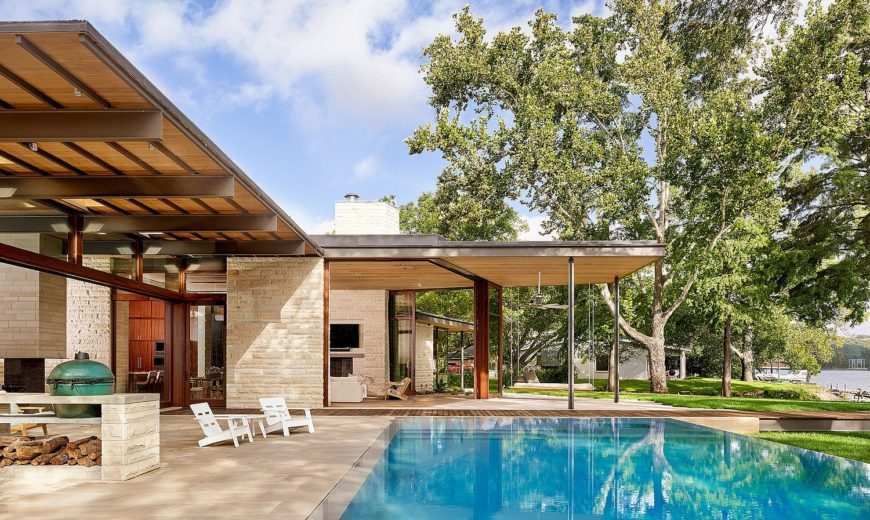 Light Floating Roofs Blend with Heavy Limestone Walls at this Vibrant Austin Home