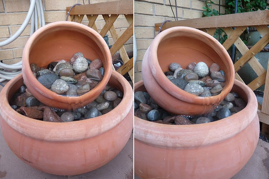 Different take on DIY Flower Pot Fountain