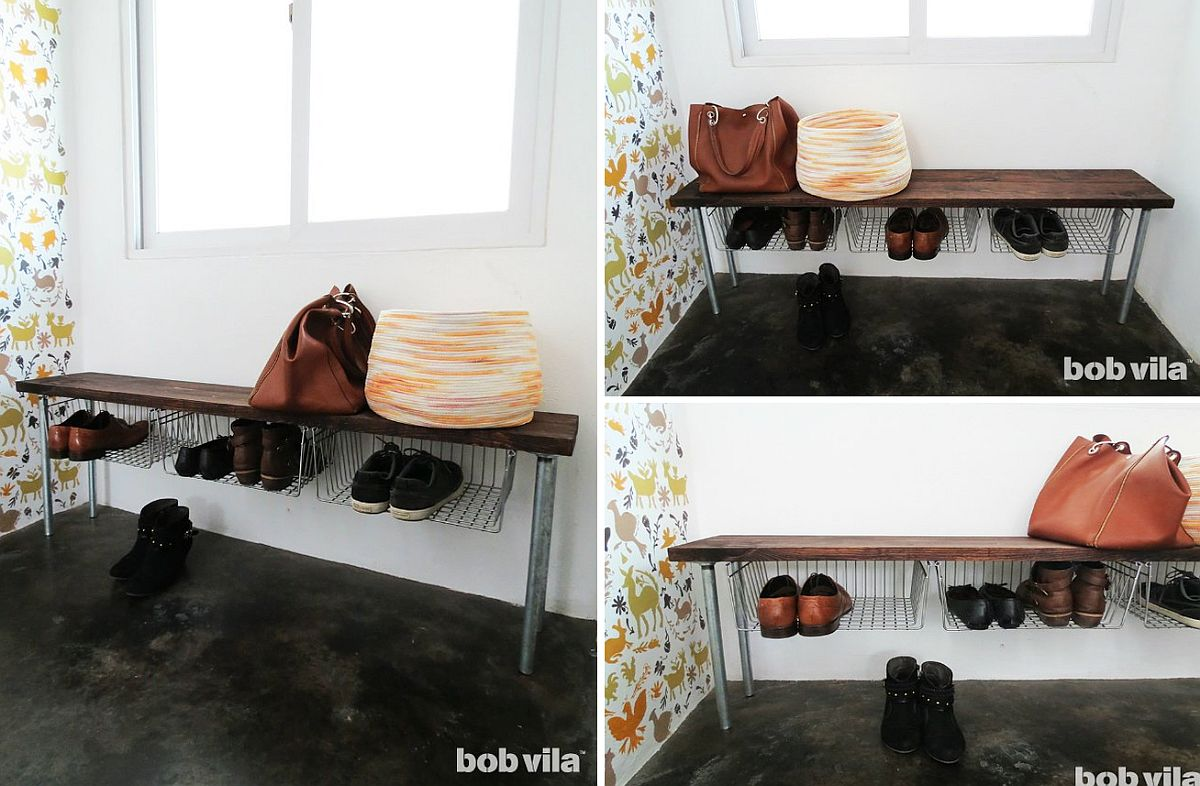 Easy Shoe Storage Bench with wiry industrial charm