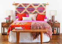 Easy-to-craft-DIY-tribal-chic-headboard-full-of-color-and-pattern-217x155