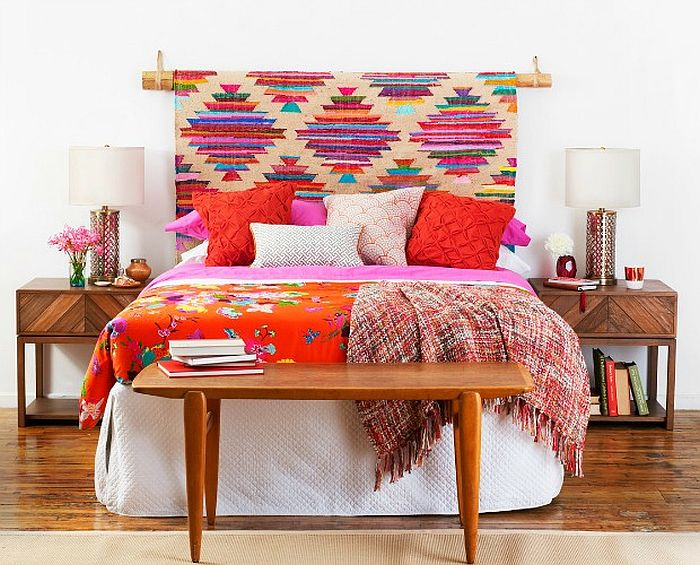 Easy to craft DIY tribal chic headboard full of color and pattern