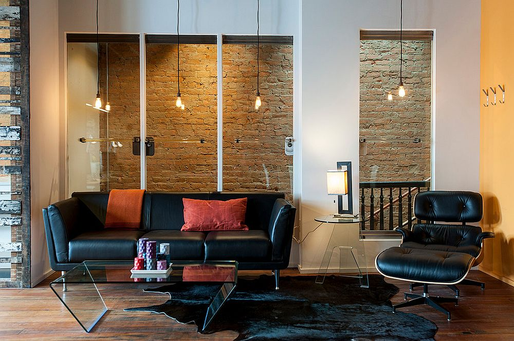 Edison bulb lighting looks great in midcentury and industrial living rooms