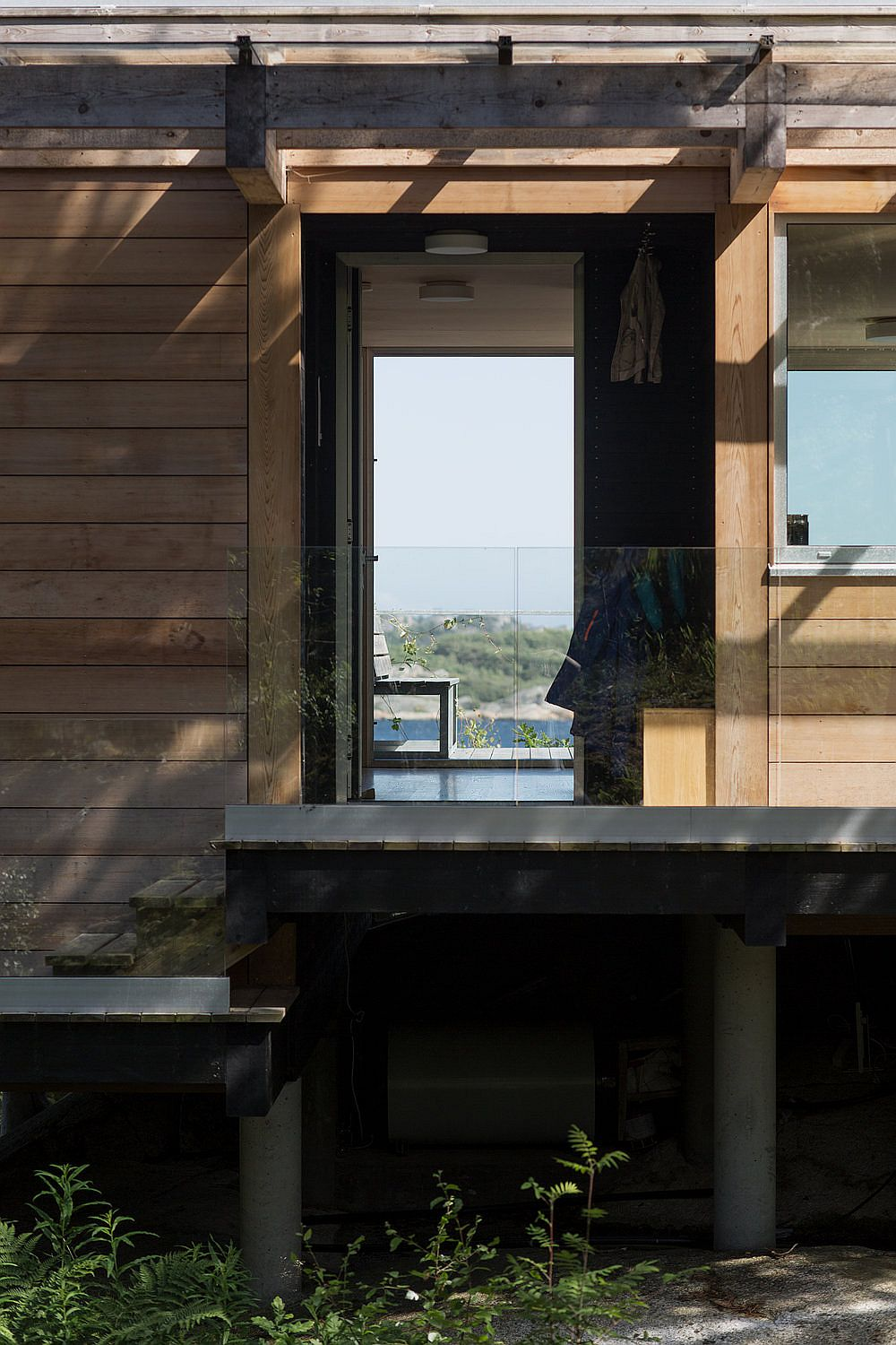 Elevated base of the cabin naturally protects the landscape it sits on