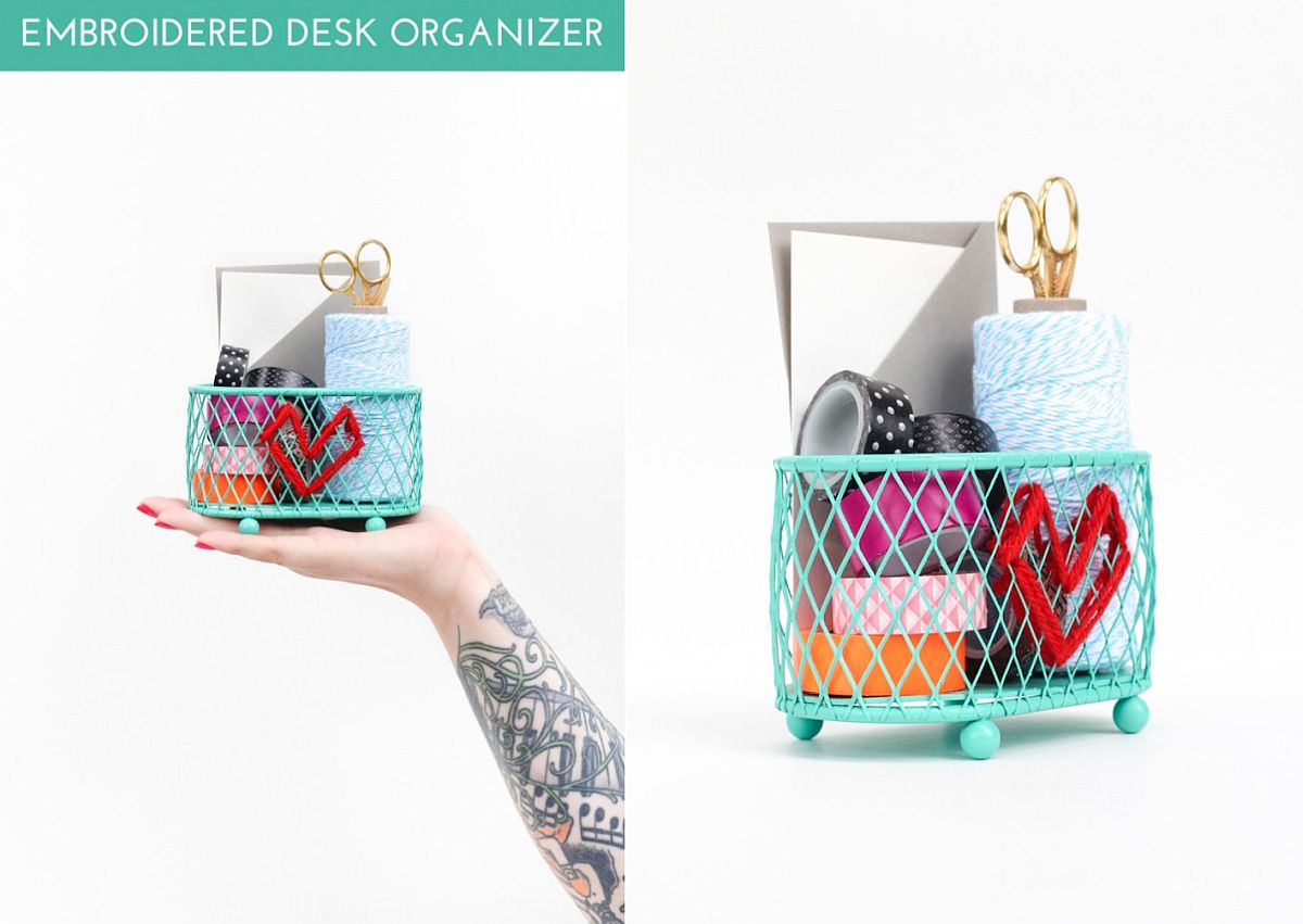 Embroidered DIY Desk Organizer Idea