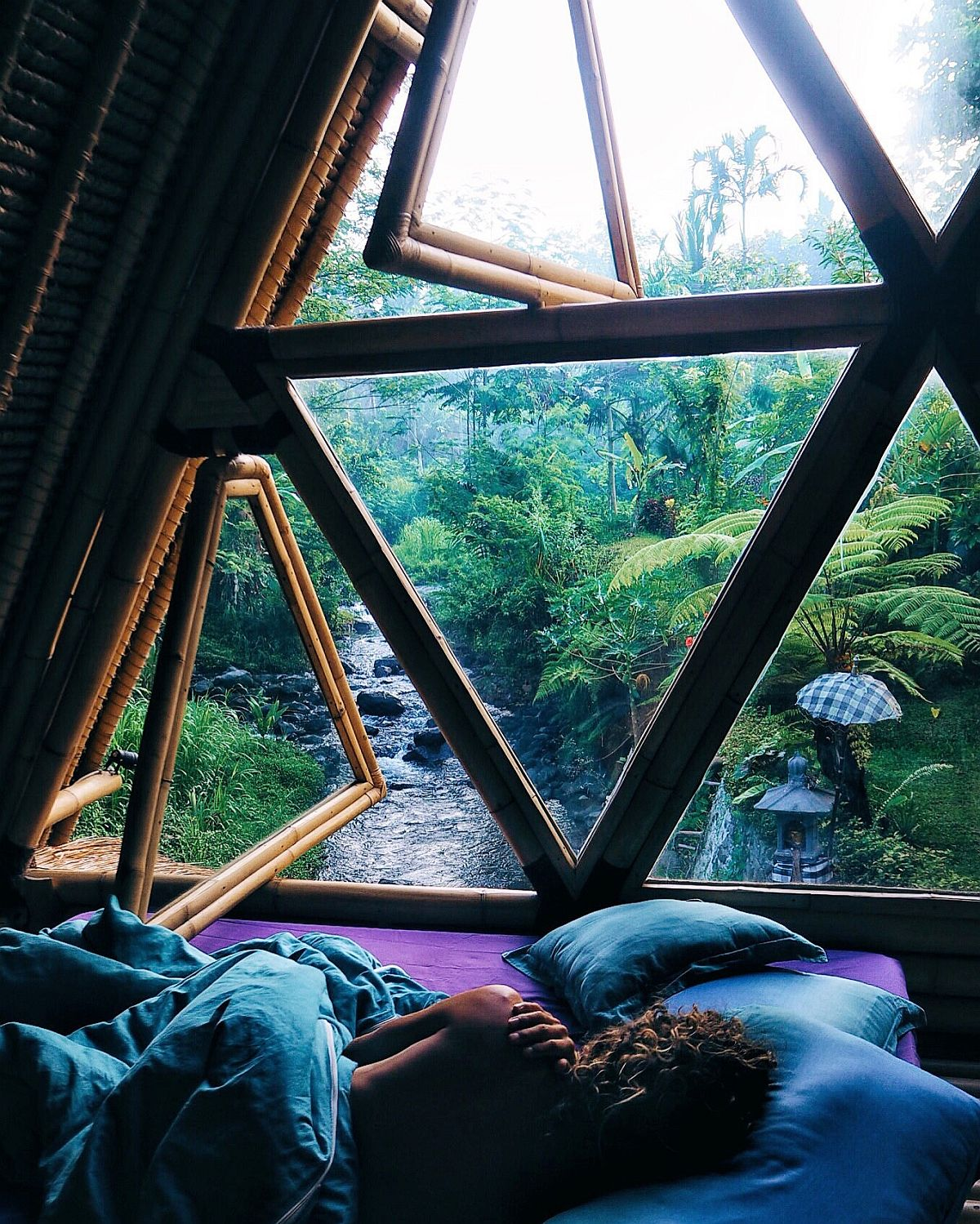 Extraordinary views of the Bali jungle from the bedroom of the hideout