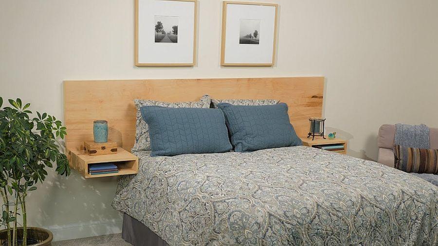 Floating-DIY-plywood-headboard-with-bedside-nightstands
