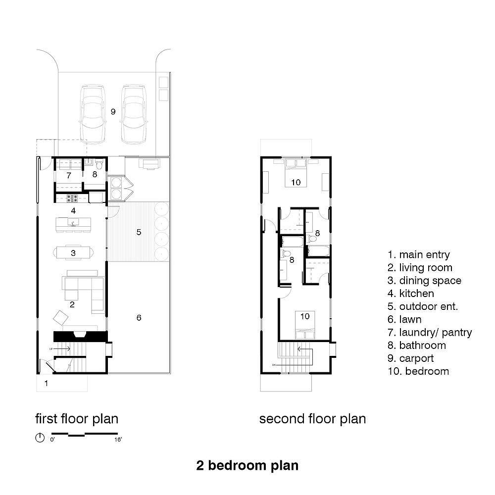 Floor plan of the two bedroom house in Memphis