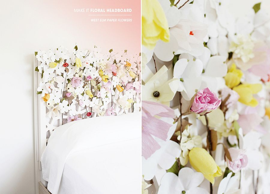 Floral headboard that you can easily create at home