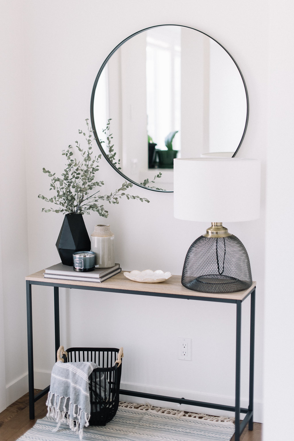 Front entry table with beautiful decor