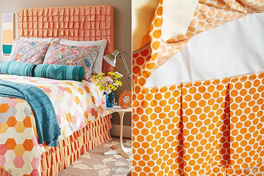 Fun Ruffled Fabric Headboard moves away from mundane DIY projects!