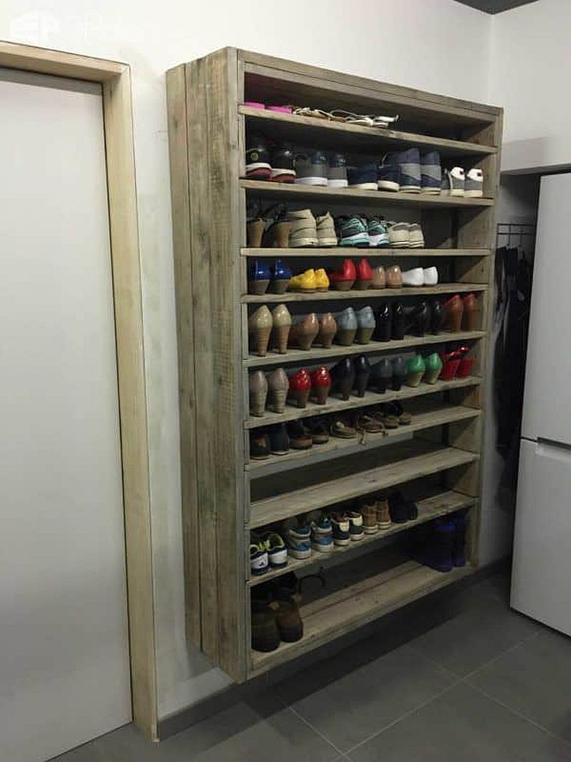 Giant DIY shoe rack using old wooden planks and pallets