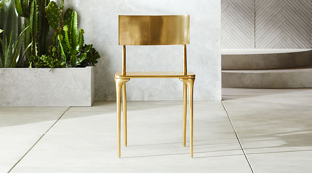 Gold outdoor dining chair