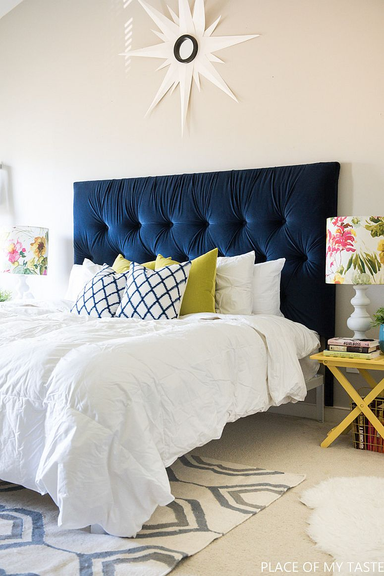 Gorgeous DIY blue tufted headboard for the modern headboard