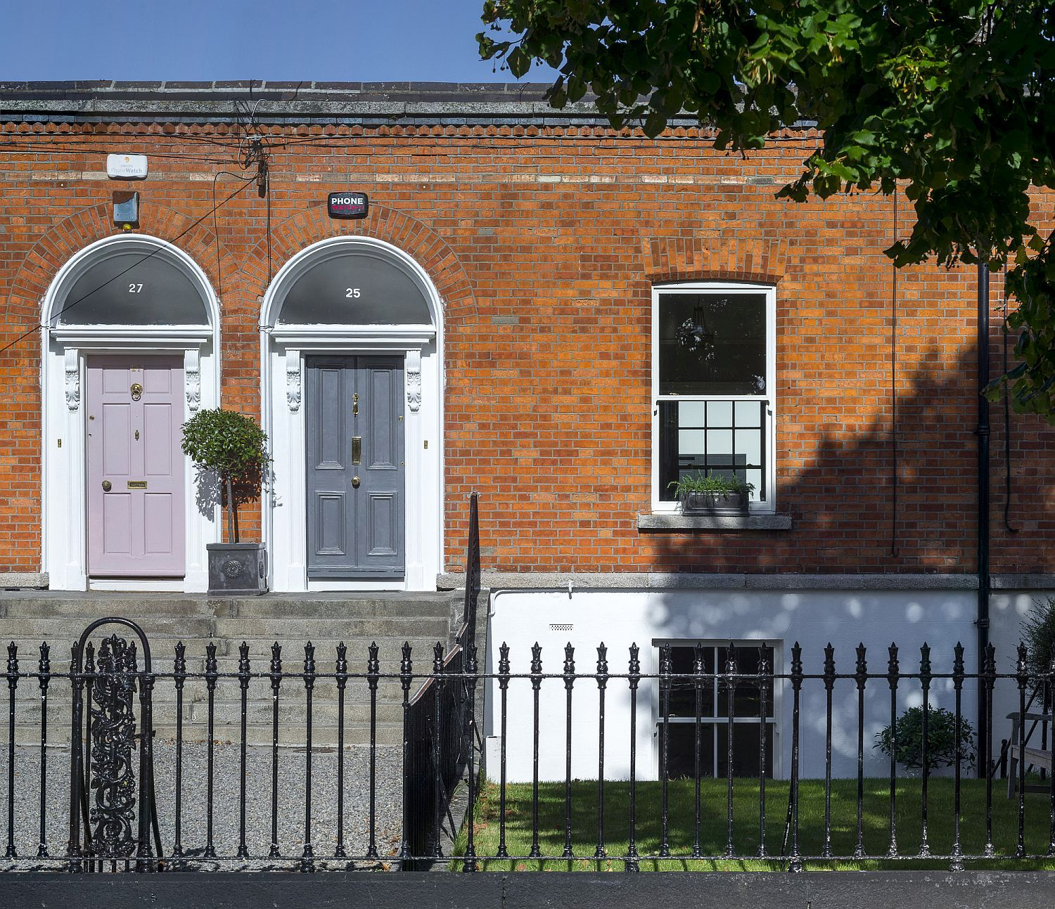 Gorgeous classic red brick facade of the Victorian house