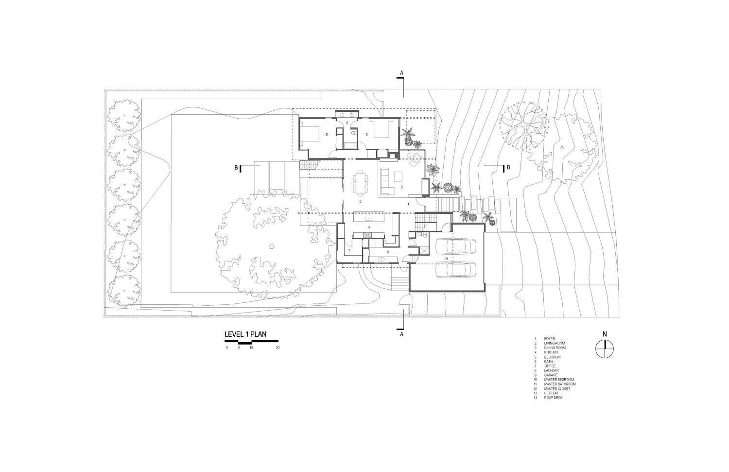 Ground level floor plan of the Paramount Residence in Austin