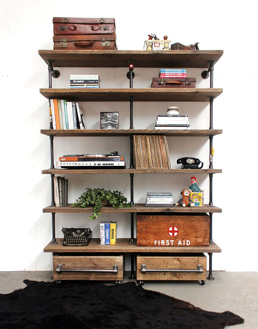 Industrial and reclaimed aura brought in by the living room shelf in wood and metal