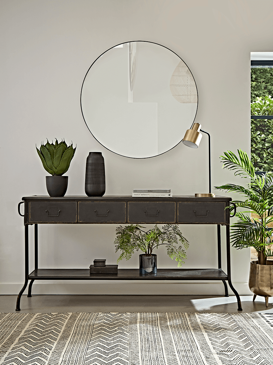 Iron console table with drawers