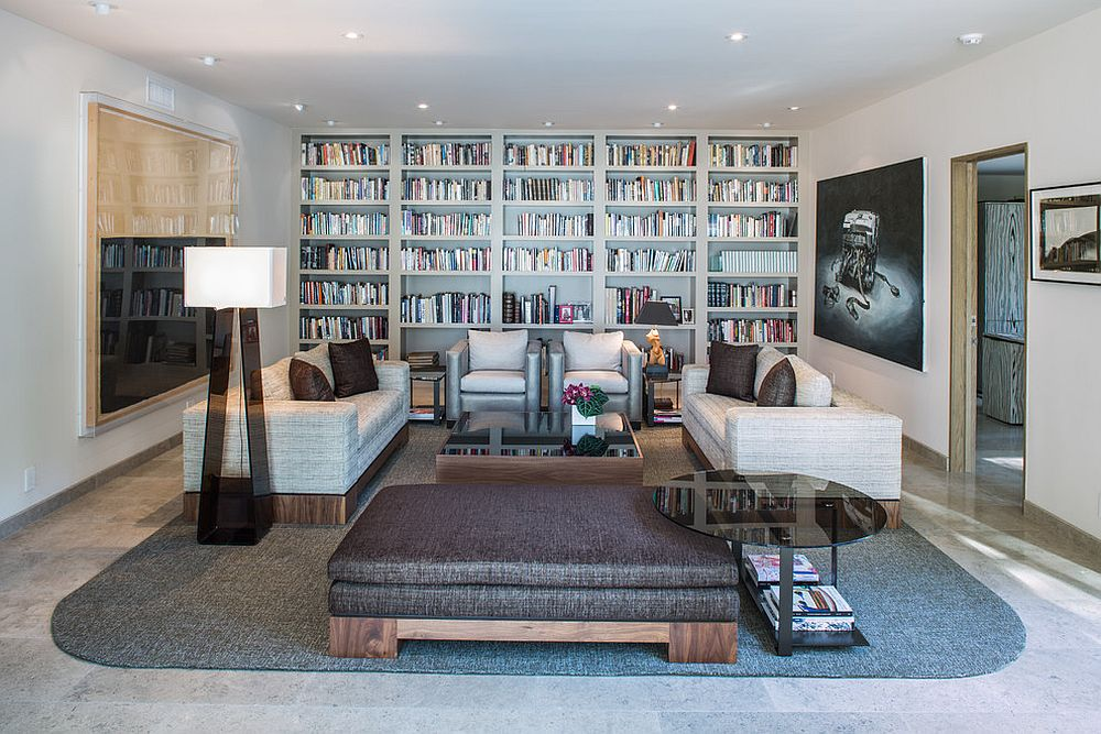 It is books that set the tone in this Hollywood Hills living room