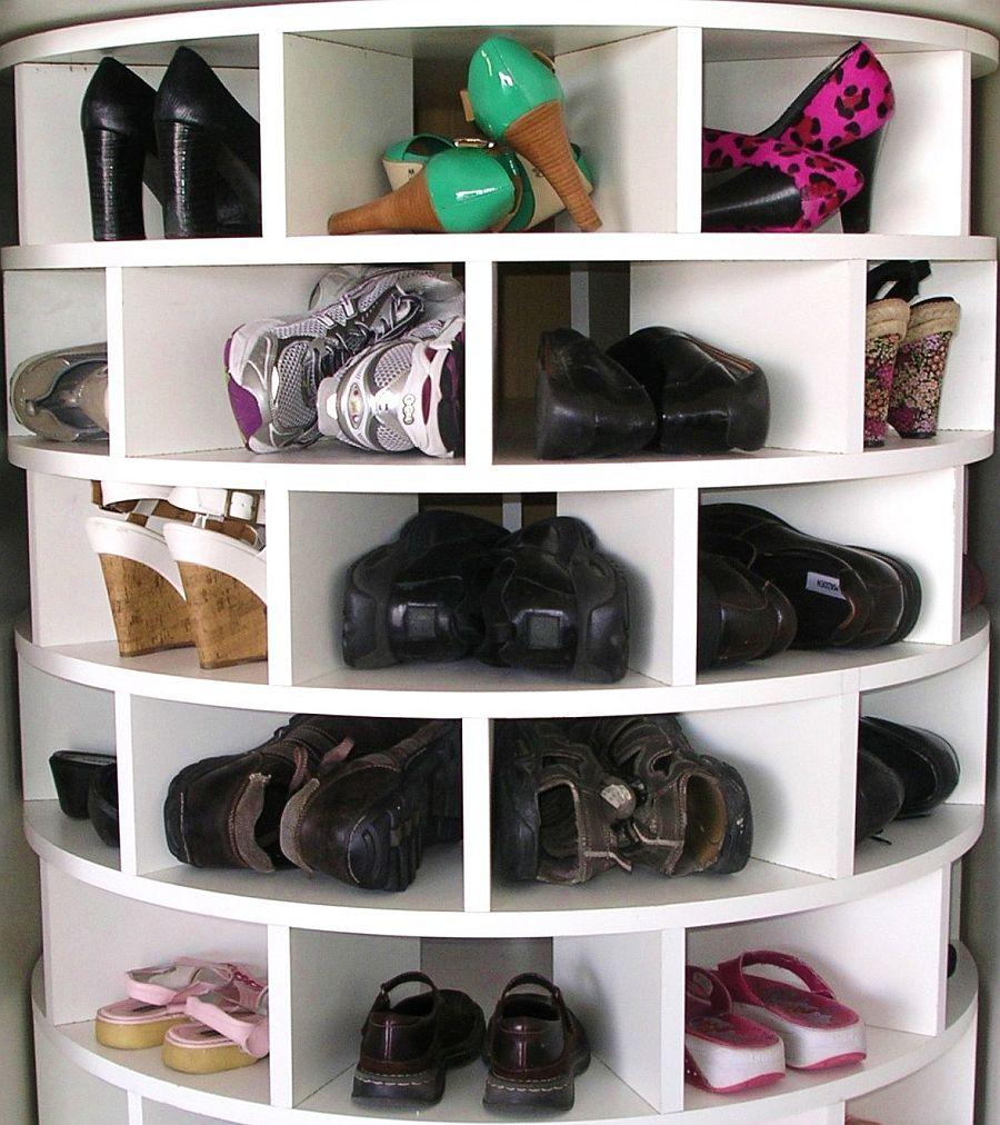 Lazy susan shoe organizer from Wonderful DIY