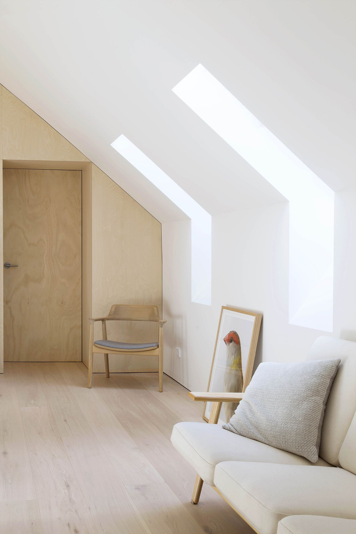 Lighting adds to the cheerful minimal appeal of the Scandinavian style interior