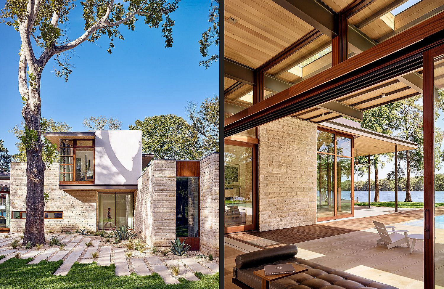 Limestone walls combined with a lovely wooden roof to create a modern home