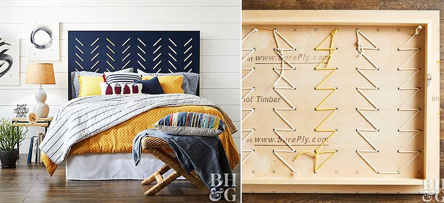 Lovely DIY headboard crafted using plywood decorated beautifully