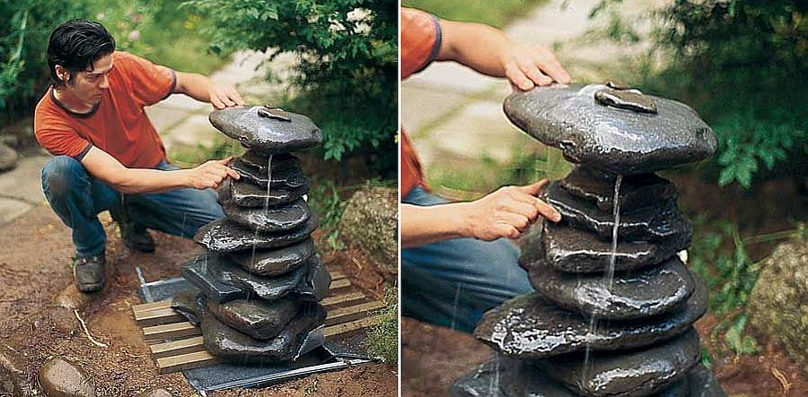 Make a Garden Fountain out of stones with ease!