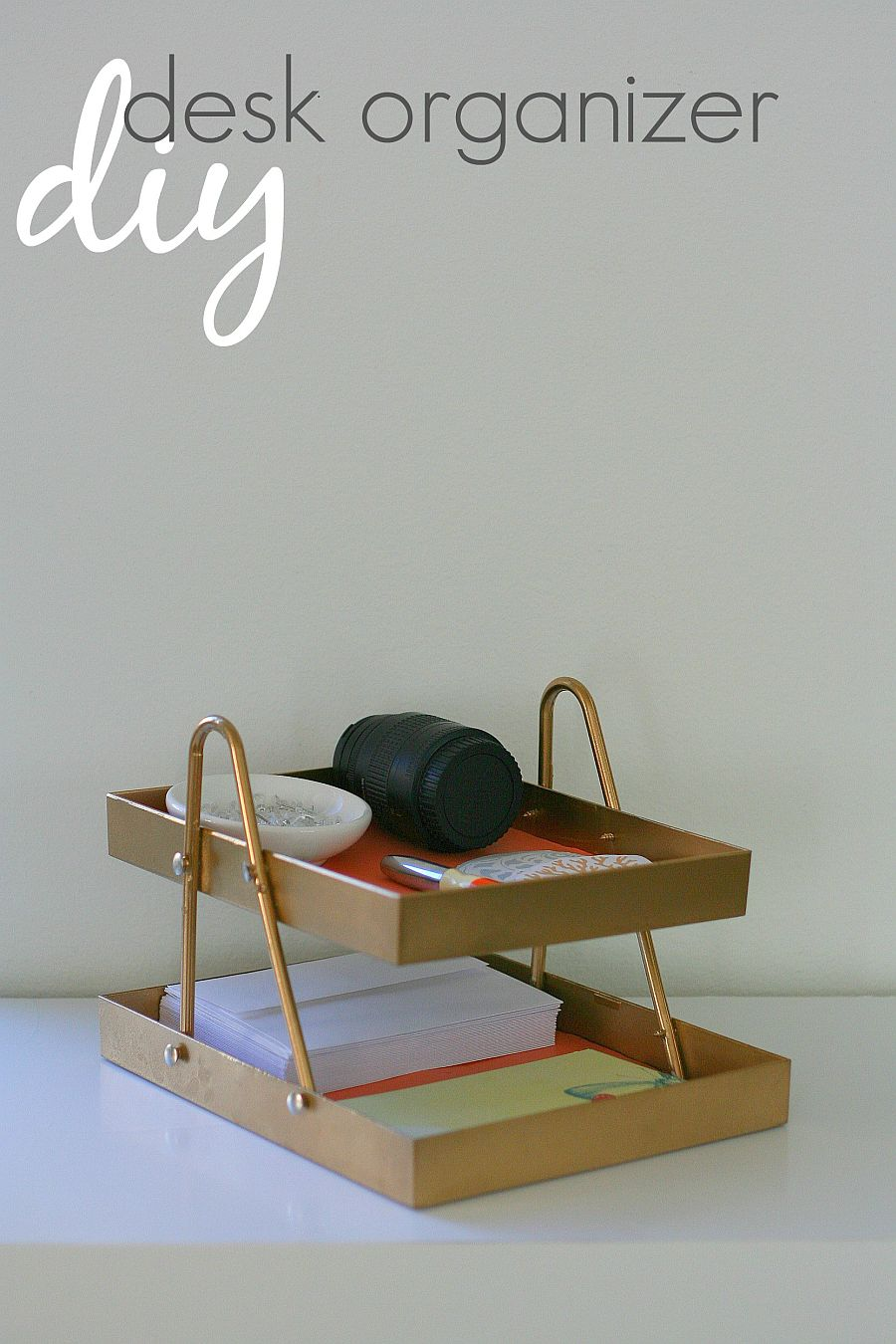 Make a simple and easy two tier DIY desk organizer