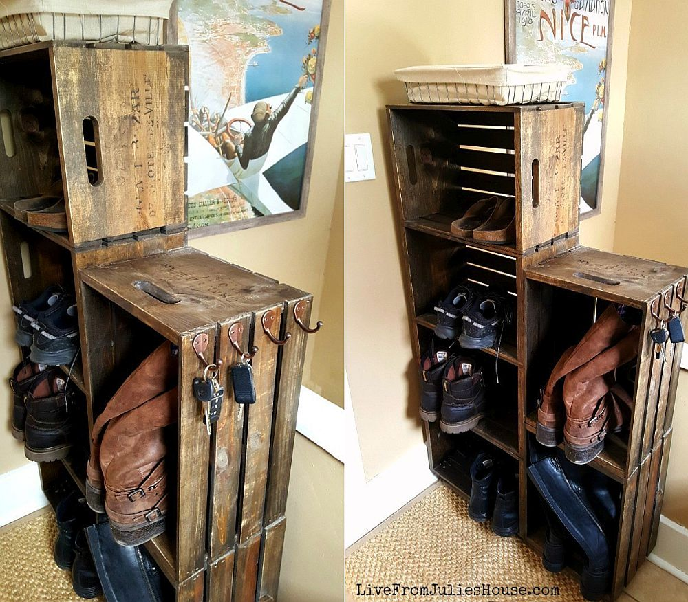 Make your own wooden crate shoe rack on wheels with ease