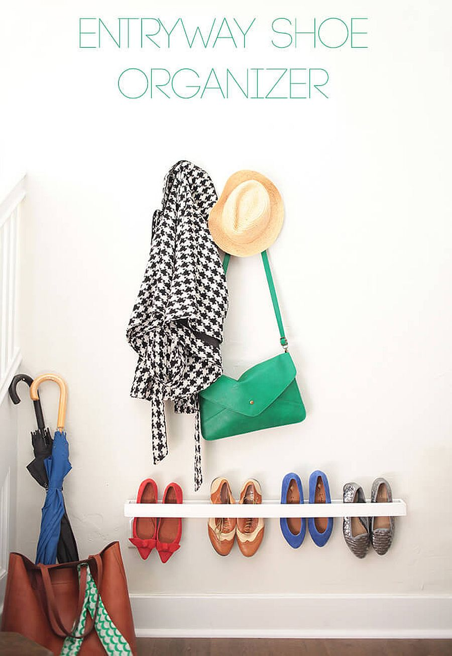 Minimal wall-mounted entryway shoe organizer