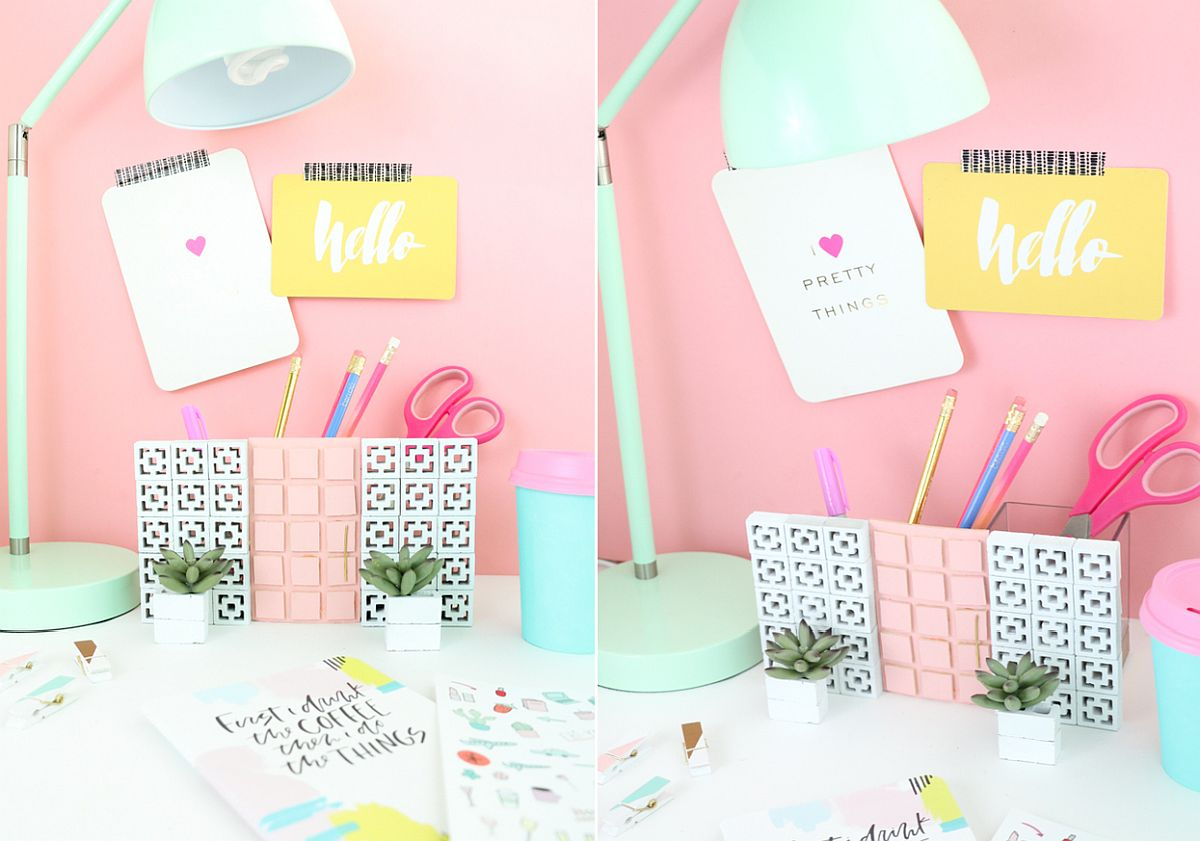 Palm Springs-inspired DIY work organizer idea