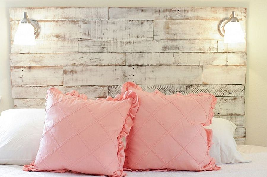 Reclaimed wood and distressed finsihes give this headboard a smart, shabby-chic vibe