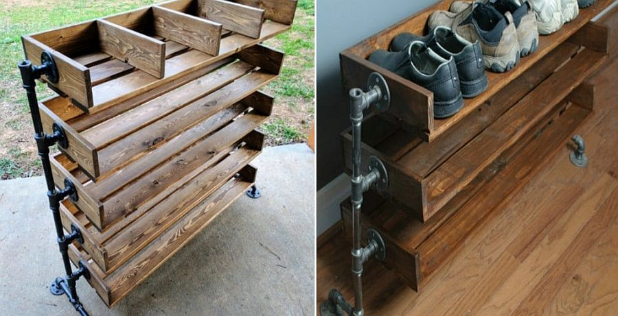 Reclaimed wood and pipe shoe organizer with ample shelf space