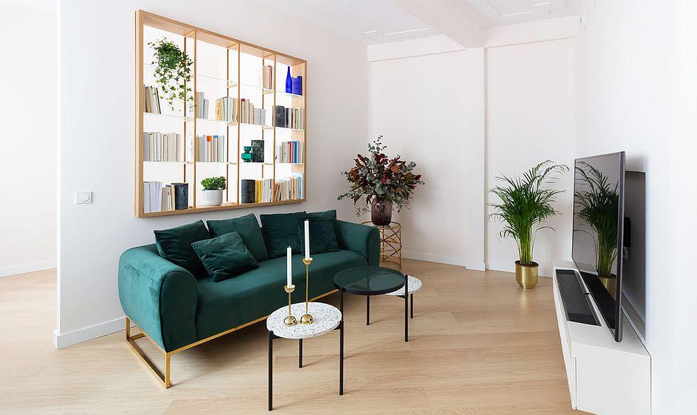 Refined minimal take on modern bookshelf wall