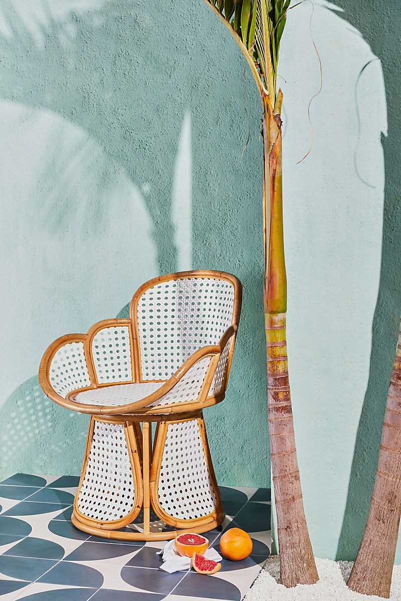 Scalloped rattan chair from Anthropologie
