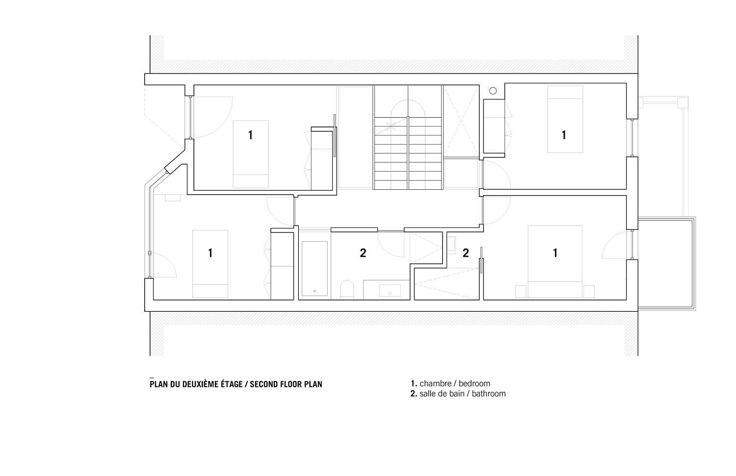 Second floor plan of the revamped duplex in Canada