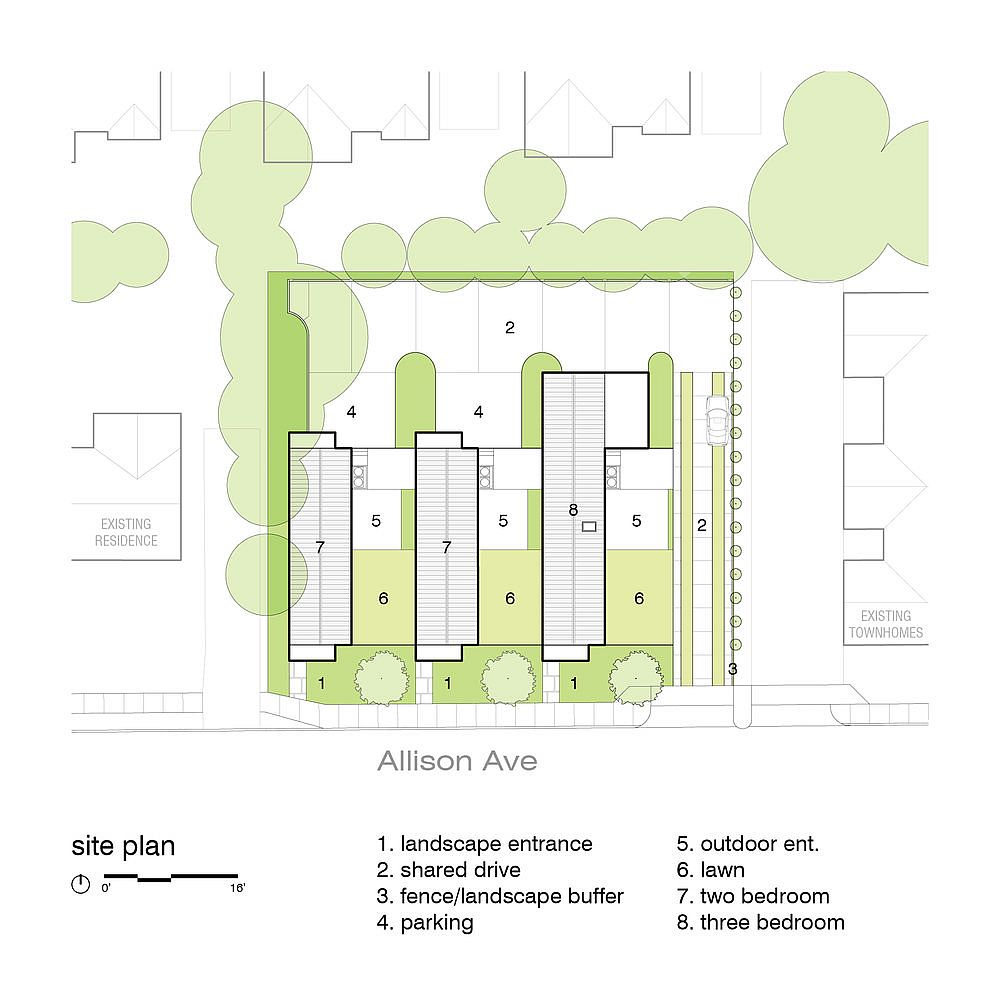 Site plan of Allison&Graham House in Memphis
