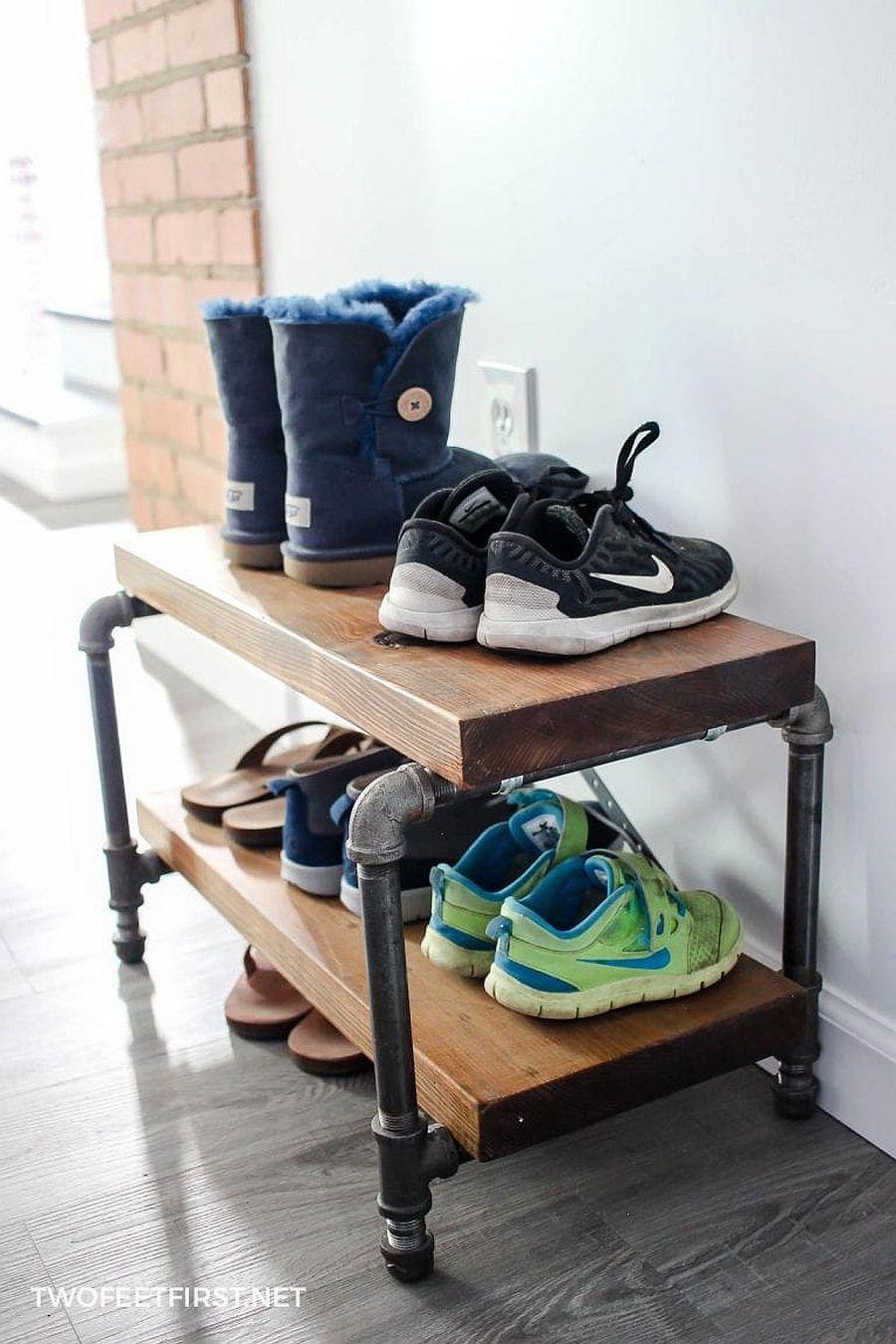 Small DIY industrial shoe rack idea