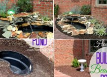 Small-and-cheap-DIY-pond-with-a-waterfall-and-rocks-all-around-217x155