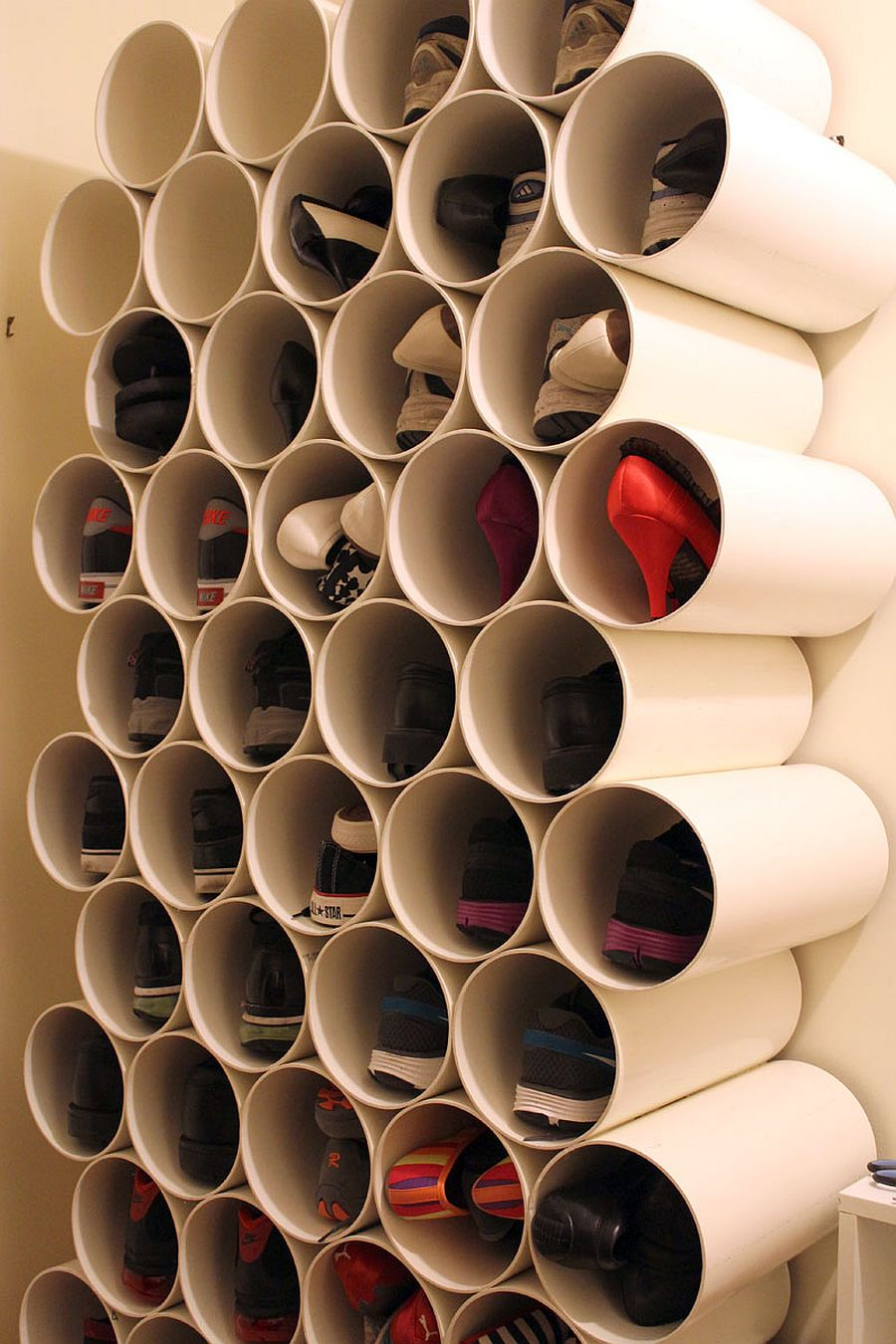 Smart and cost-effective PVC pipe shoe rack