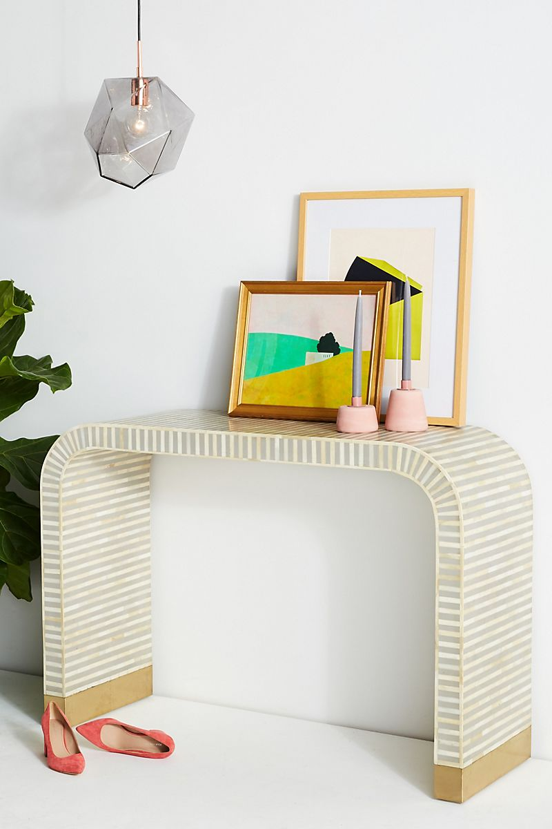 Striped curved console table