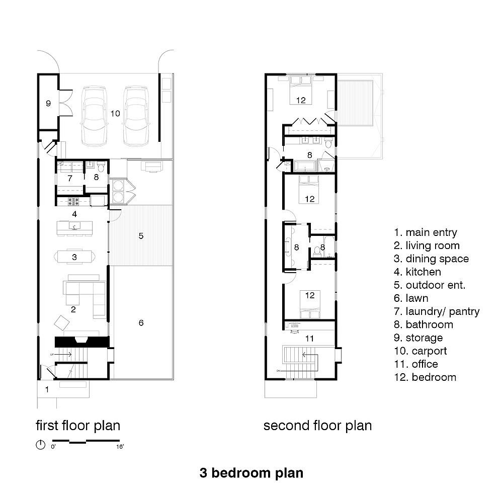Three bedroom house plan with compact design