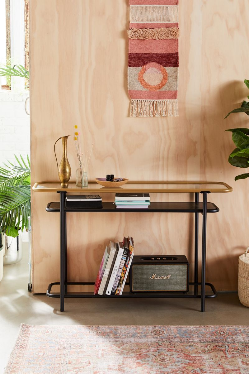 Three-tiered metal and glass console table