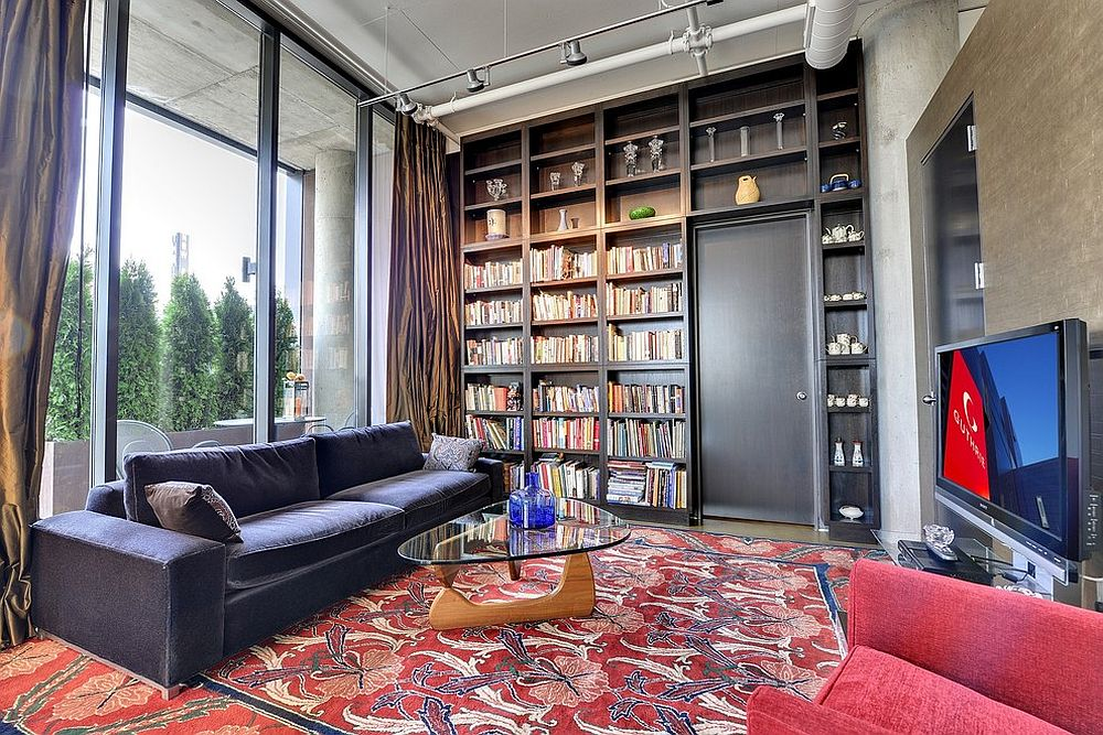 Track lighting can be used to accentuate the best features of the bookshelf