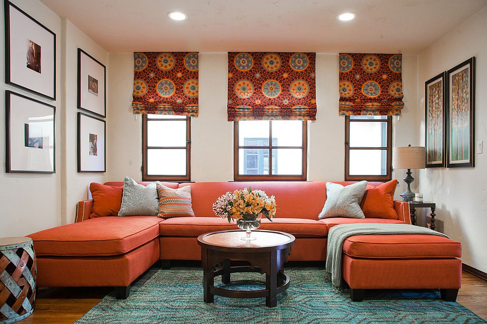 Try out the orange sofa for a bit of cheerful zest
